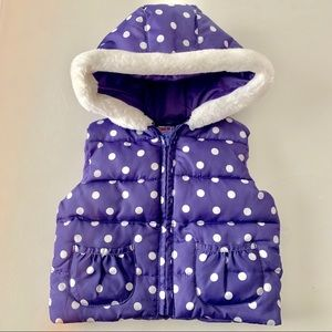 12-24 month purple and white polka dot hooded vest